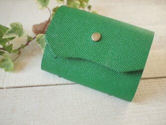 厚手本革 グリーンのカードケース  自然な切り口の画像