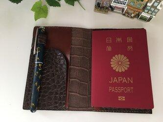 パスポートケース☆バイカラー陰影ある茶×明るい茶♪の画像