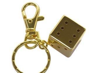 《金運UP》純金メッキのサイコロキーホルダーの画像