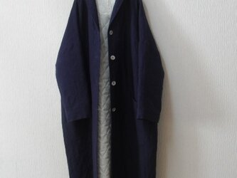 リネンの裏付きコート ネイビーの画像