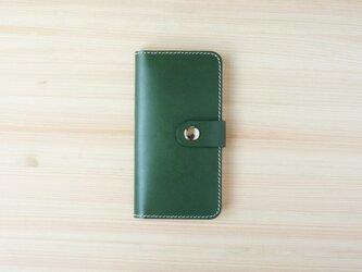 牛革 iPhone 手帳型 ヌメ革 グリーン(XS/X/8/8Plus/7/7Plus/SE/6/6s/6Plus)の画像