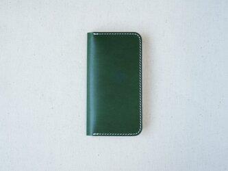 牛革 iPhoneSE/5/5sカバー  ヌメ革  レザーケース  手帳型  グリーンカラーの画像