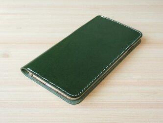 牛革 iPhone6plus/6splus ヌメ革 レザーケース カバー    手帳型  グリーンカラーの画像