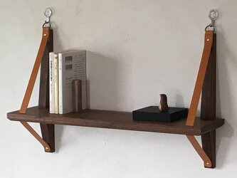 木と革のウォールシェルフ-52.5cm幅(石膏ボードフック付)飾り棚 ウォールナット チェリー メープル タモ レザーの画像