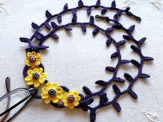 レース編み2wayグラスコード 花(濃紫×黄色)の画像