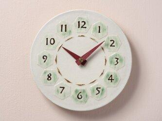 亀甲(丸)φ190 陶製掛時計(木製針)の画像