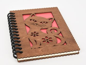 木の猫のノートブック(木製ルーズリーフ)の画像