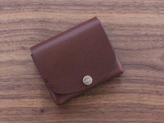 イタリア製牛革の二つ折り財布1 / ダークブラウン ※受注製作の画像
