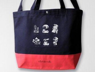 帆布バイカラートート キノコ 紺×赤の画像