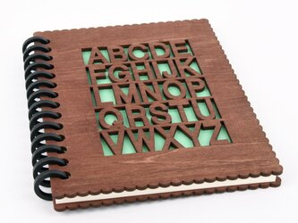 木のノートブックA アルファベット(木製ルーズリーフ)の画像