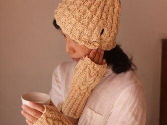 指なし手袋&縄編みニット帽セット・イエローの画像