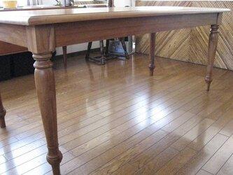 中古品、チーク材・手作り、無垢ダイニングテーブルの画像