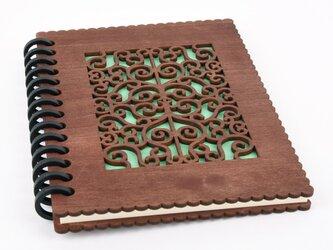 木のノートブックC 和風唐草(木製ルーズリーフ)の画像