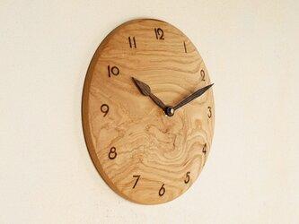 木製 掛け時計 丸 栗材4の画像