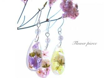 【選べる3色】春色ゆらゆら透明かすみ草ピアスの画像