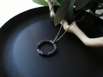 手組み組紐 【掛kakeru 総柄:鉄紺】Necklaceの画像