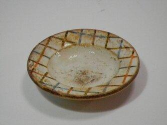 豆皿 百色(ももいろ)象嵌 麦藁格子 オレンジ水色の画像