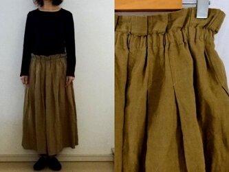 【受注制作】黄土色天日干しリネン タックギャザースカートの画像