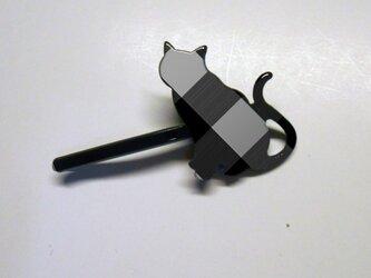 アートヘアピン(ネコ)黒  ブラックウォッチ【送料無料】の画像