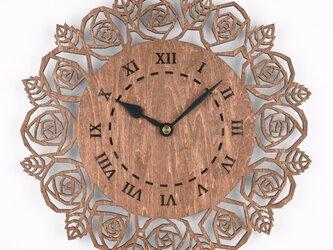 木の壁掛け時計D 薔薇(木製ウォールクロック)の画像