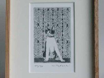 扉の前の猫 / 銅版画 (額あり)の画像