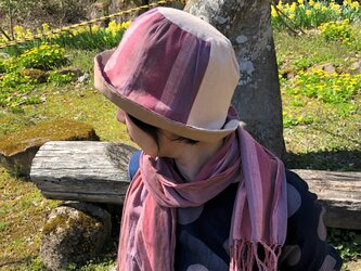 遠州綿紬のリバーシブルクロッシェ 暁×ベージュの画像