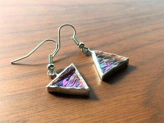 ステンドグラス ピラミッドピアス~虹~の画像