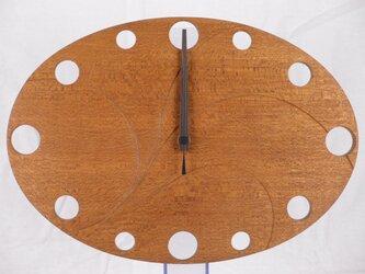 無垢の木の電波掛け時計 ラワン 0001の画像