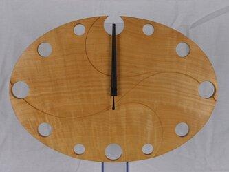 無垢の木の電波掛け時計 とち 0037の画像
