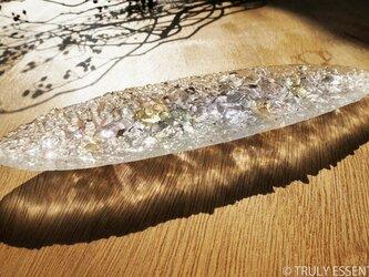 ガラスのアクセサリートレイ -「 灯りのタネ 」 ● ライラック・28cmの画像