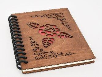 木のノートブックF 薔薇(木製ルーズリーフ)の画像