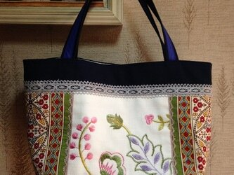 フランス刺繍生地 帆布 パッチワークトートバッグの画像