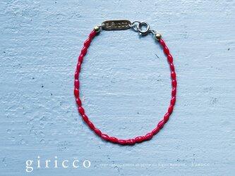 フランスの珍しい艶のあるキレイな赤のスフレガラスのブレスレット(TJ10911)の画像