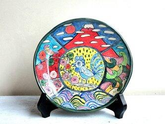 酉年を祝う色絵皿の画像