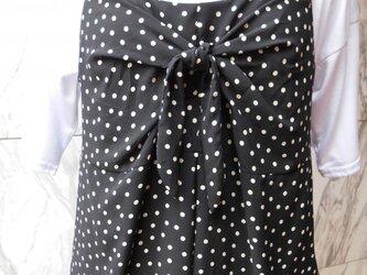 ドット柄リボン結びキャミソール黒の画像