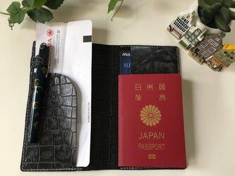 【受注制作】パスポートケース☆陰影ある黒×いぶし銀♫の画像
