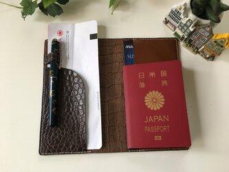 パスポートケース☆陰影ある茶+ヌメ革茶2色♫の画像