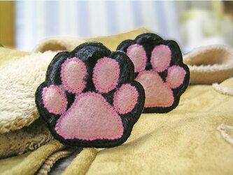 黒猫・肉球★アップリケ刺繍ワッペン★2枚の画像
