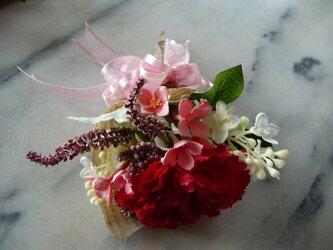 カーネーションの花束 感謝 赤 の画像