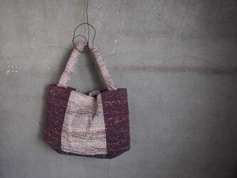 裂き織り/白ト赤ノハグバッグ (+orimi)の画像
