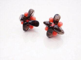 [天然石]粒いちごチョコピアス/イヤリングの画像
