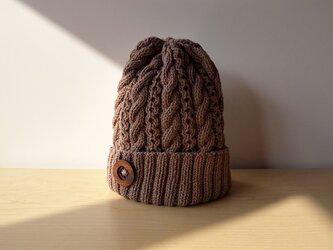 煤竹色(すすたけいろ)のコットンウールのニット帽の画像
