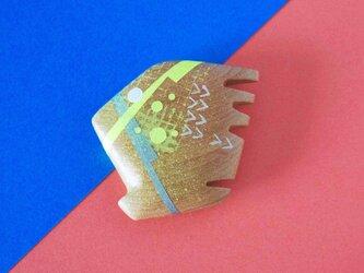 手鏡 small 直径3㎝ 幾何学模様(イエロー&シルバー)の画像
