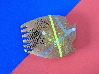 手鏡 直径4.8㎝ 幾何学模(イエロー&シルバー)の画像
