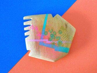 手鏡 直径4.8㎝ 幾何学模様(ピンク&パステルブルー)の画像