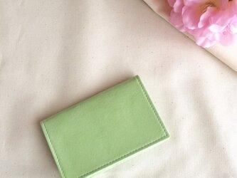 春色淡い緑色の名刺入れの画像