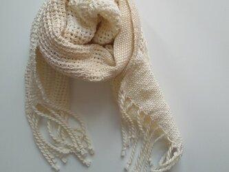 再販 UV防止 手織りシルクコットンミニストール レース織り 白&アイボリーの画像