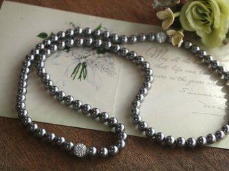 卒業式/入学式にも*ビジューロングパールネックレス シルバー 卒園式 入園式 ウエディング 結婚式 真珠 披露宴 ブライダルの画像