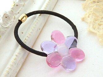 (受注制作)ガラスのデイジー*ヘアゴム♪Pink&Lavenderの画像