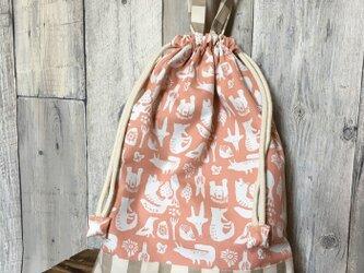 【通園通学】動物柄お着替え袋(ピンク)の画像